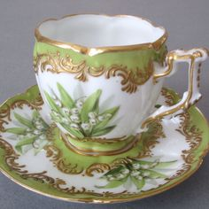 Fine 19thC HP French OLD PARIS Porcelain Cup Saucer LILIES of the VALLEY w GILT #BourdoisAchilleBlochParis