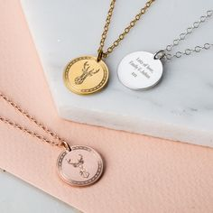 The gorgeous Personalised Stag Coin Necklace is handmade from sterling silver in our Brigton workshop, with optional 9ct rose or 9ct yellow gold plating. A solid silver disc pendant is engraved with a beautiful geometric stag motif, with an patterned border around the edge of the disc. The Personalised Stag Coin Necklace is a unique striking piece that looks beautiful either worn on its own or layered with other necklaces. For a truly special touch the reverse of the pendant can be…