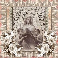 Catholic Our Lady of the Holy Rosary vintage sepia holy card animated gif image