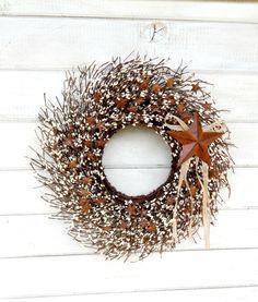 Primitive STAR Wreath-Fall Wreath-Rustic Autumn by WildRidgeDesign