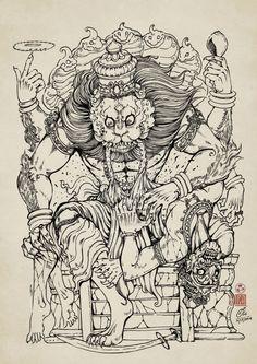 Narasimha by In-Sine on DeviantArt Indian Gods, Indian Art, Apocalypse Tattoo, Muse Kunst, Hindus, Goddess Tattoo, Lord Vishnu Wallpapers, Lord Krishna Images, Muse Art