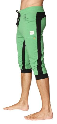 25220de2d7 Ultra-Flex Tri-color Cuffed Yoga & Workout Pants for Men (Green w/Black &  Black)