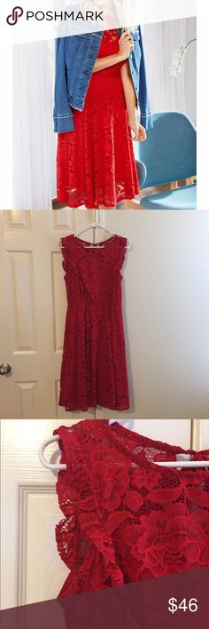 🎉5/30 HP flash Sale  Lauren Conrad Red Lace Dress 14 inches across waist laying flat - has elastic so accommodates more. 17 inch from under arm to underarm.  40 inch from shoulder to hem. Worn once for 1 hr ; tags still on! Gorgeous dress. Has a cute tie in back. FYI, tie is sewn closed so you don't have to worry about it coming undone. Lined w/attached red slip. Husband liked it but it wasn't my favorite. Great for date nights and parties. Delicate and dainty! I wore with a black blazer…