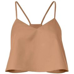 Tibi Women's Cropped Poplin Beige Tank (€165) ❤ liked on Polyvore featuring tops, shirts, crop top, blusas, pullover shirt, v-neck shirt, beige crop top, shirt crop top and beige top