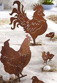 Chicken Family Можно сделать из плотного крафт-картона и оттенить белым. А можно - из белого. Очень выразительное семейство.