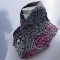 Neckscarf handknit in pinks and grays and by ThisSeamsGood on Etsy, $25.00
