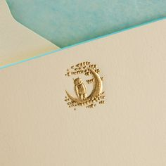 Gold Owl and Moon on horizontal Ecru Card with Turquoise Beveled Edges and Pistachio Tissue Envelope Lining from The Printery Oyster Bay, New York. Hand engraved, set of Oyster Bay New York, Wedding Stationery, Wedding Invitations, Invites, Owl Moon, Envelope Lettering, Graphic Design Typography, Hand Engraving, Craft Gifts