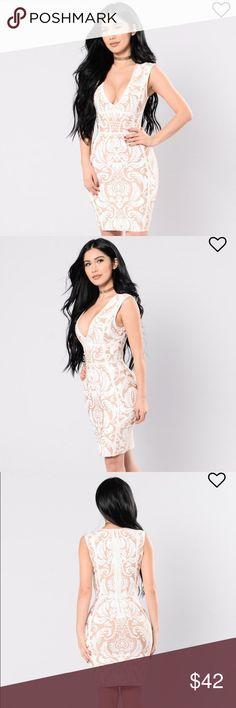 Falling In Lust dress / Fashion Nova Curve No longer available on fashion nova website!! // Selling a beautiful Taupe/Ivory dress // 2x // Deep V // Hidden back zipper // Sleeveless // Bandage // Printed // 90% Polyester 10% Spandex // ***Brand new with tags; Never been used*** Fashion Nova Dresses Midi