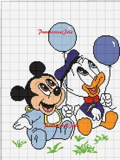 Baby Mickey Mouse x-stitch with Donald duck