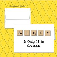 Sixty Scrabble Design. It is made in the USA recyclable and acid free. All our cards are manufactured by hand in a smoke free environment.   eBay!