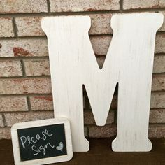 Wedding Guest Book Alternative - ANY COLOR- ANY Letter - Wooden Letter Guest Book - Monogram Guest Book - Chalkboard Sign by CozyHomeWreaths on Etsy https://www.etsy.com/listing/226471955/wedding-guest-book-alternative-any-color