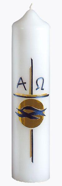 Taufkerze, Nr. 1333, Höhe=265mm, Ø=60mm, blau-angegoldet, glanzgold