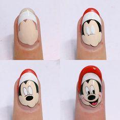 Nail Art Noel, Xmas Nail Art, Xmas Nails, Winter Nail Art, Cartoon Nail Designs, Animal Nail Designs, Animal Nail Art, Disney Christmas Nails, Christmas Nail Designs