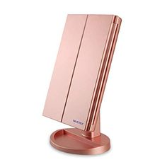 WEILY Lighted Makeup Mirror, Tri-fold Vanity Mirror with Magnification Mirrors, 21 Natural LED Nights and Touch Screen, Chargeable Travel Cosmetic Mirror for Desktop (Rose Gold - Kokania - Best Online Store Makeup Vanity Mirror, Makeup Mirror With Lights, Cool Mirrors, Led Mirror, Gold Bedroom Decor, Bedroom Ideas, Couleur Or Rose, Magnifying Mirror, Lumiere Led