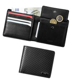 Geldbörse und Kartenetui sind aus hochwertigem Rindleder gefertigt. Die raffinierte Stanzung beider Börsen macht aus den zwei Begleitern eine stilvolle und exklusive Geschenkidee
