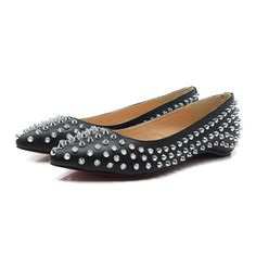 bc749f4c4374 discount red sole shoes Pigalle Spikes flats black Black Leather Flats