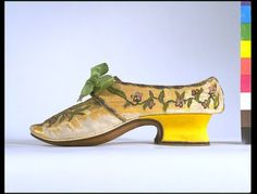 1750s, France or Italy or Germany - Pair of shoes - Couched straw splints, embroidered with silk and metal thread, silk satin covered heel, and matching silk lining