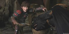 I love how Hiccup isn't even phased because he must have to do this literally EVERYTIME they eat from a basket.  Lol