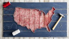Take your patriotism a step further with DIY string art! 1. Using chalk pencil, mark nail placement along USA wood sign (SKU 1005487). 2. Hammer nails into place. 3. String red nylon around all nails. 4. Outline map with white nylon string. 5. Enjoy your patriotic plank!
