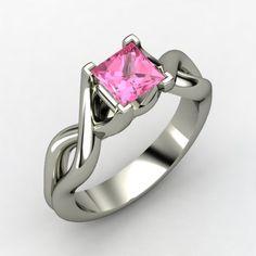 Soo pretty!.....Princess Pink Sapphire Palladium Ring | Twist Ring | Gemvara