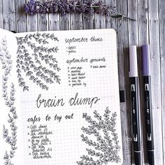 Easy Bullet Journal Ideas To Well Organize & Accelerate Your Ambitious Goals Bullet Journal September, Bullet Journal Notes, Bullet Journal Printables, Bujo, Tombow Brush Pen, Journal Pages, Journal Ideas, Types Of Journals, Brain Dump