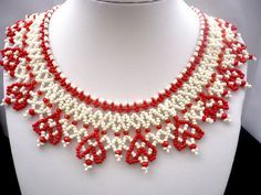 Red-white bedawork ukrainian necklace with hearts by Evasjewelery