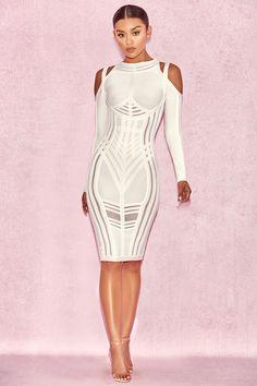 5635c7eae1 Clothing   Bandage Dresses    Madrina  White Bandage Cold Shoulder Dress  White Bandage Dress