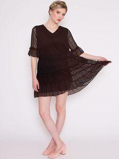 Dahlia Tula Black Loose Mixed Fabrics Floaty Dress