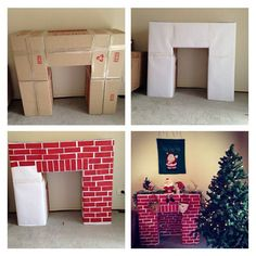 DIY Fireplace! Carboard boxes, white paper and paint.