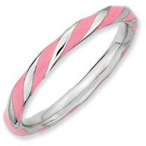 Silver Twisted Pink Enamel 2.4x2.0mm Stackable Band. Sizes 5-10 Available Jewelry Pot. $22.99. 100% Satisfaction Guarantee. Questions? Call 866-923-4446. Your item will be shipped the same or next weekday!. 30 Day Money Back Guarantee. All Genuine Diamonds, Gemstones, Materials, and Precious Metals. Fabulous Promotions and Discounts!. Save 65% Off!