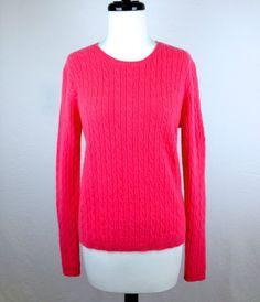 Valerie Stevens Hot Pink Crewneck 100 Cashmere Pullover Sweater Knit L Nice | eBay