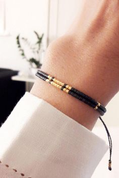 Black Beaded Bracelet, Friendship Bracelet, Beaded Wrap Bracelet, Boho Jewelry, Gift for Her, Best Friend Gift Details: - Miyuki delica glass beads... Each bead measures 2.2mm outer diameter. - Linhasita waxed polyester cord 1mm, waterproof These beaded bracelets are very fine and