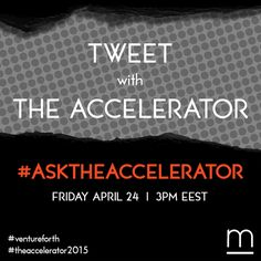 Got questions about the acceleration process for ‪#‎startups‬? Well, go ahead and Ask The Accelerator!  Join our Twitter chat this Friday 24 April at 3pm with Startupper. Just use hashtag ‪#‎AskTheAccelerator‬ and follow twitter accounts @metavallon and @startuppergr. ‪#‎TheAccelerator2015‬ ‪#‎ventureforth‬