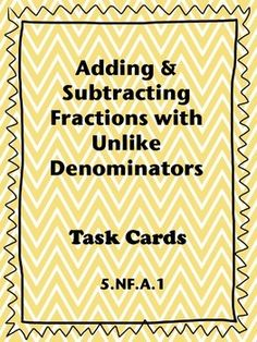 This FREE activity has students practicing adding and subtracting fractions with unlike denominators. Students will enjoy moving around the room.