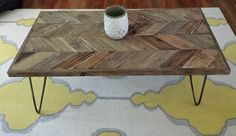 Reclaimed Wood And Hairpin Legs - Modern Coffee Table W/chevron Wood Pattern
