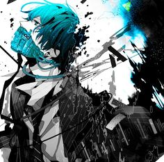 Black and white anime boy with bright blue mask that's slowly deteriorating, and has bright blue hair~Pretty