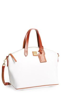 Smitten with this white and tan Dooney & Bourke satchel!