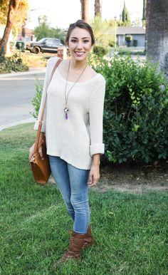 Moo's Musing: Date Night Attire  Brown Sweater, Jeans, Combat Boots, Ponytail