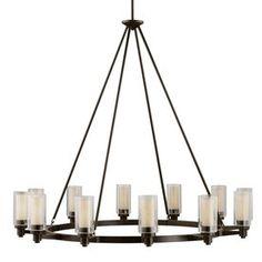 Kichler Lighting Circolo 44.5-in 12-Light Olde Bronze Clear Glass Shaded Chandelier Item # 691774 Model # 2347OZ $1289.