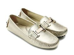 Golden Hermes Ladies Flat Shoes