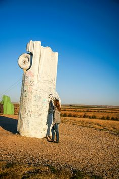Signing the Auto-Graph car at Carhenge in western Nebraska