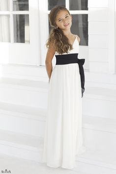 Junior version of style 4046.  Ivory bella chiffon, floor length length dress with black pleated band and tie at waist.
