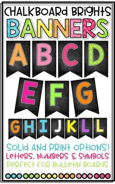Editable classroom banners classroom bulletin boards posters chalkboard brights banner to create bulletin boards perfect for classroom decor solid and print spiritdancerdesigns Choice Image