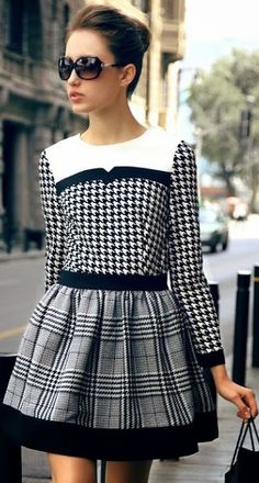 SheIn offers Black White Long Sleeve Houndstooth Contrast Plaid Dress & more to fit your fashionable needs. White Fashion, Love Fashion, Womens Fashion, Dress Fashion, Fashion Spring, Autumn Fashion, Mode Tartan, Lady Like, Looks Street Style