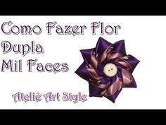Como fazer Flor dupla com fita de Cetim - YouTube