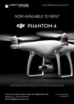 The DJI Phantom 4 Quadcopter   PRODUCT HIGHLIGHTS   Gimbal-Stabilized 4K / 12MP Camera Visual Sensor for Obstacle Avoidance Streamlined Shell / Magnesium Unibody Top Speed of 44.7mph in Sport Mode Maximum Control Range of 3.1 Miles Visual Tracking of Moving Subject Up to 32.8' Vision Positioning Altitude TapFly - Fly With a Tap of the Finger Avoids Obstacles When Returning Home Up to 28 Minutes Flying Time   For rental enquiries, Email us on: info@lighthouse.ae or Call us on: +9714 341 9697 Dji Phantom 4, Dubai, How To Apply, Accessories, Ornament