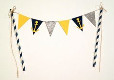 Nautical Cake Bunting - Color and theme customizable, Nautical Cake Topper, cake banner