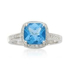 2.25 Carat Blue Topaz and .15 ct. t.w. Diamond Ring In 14kt White Gold