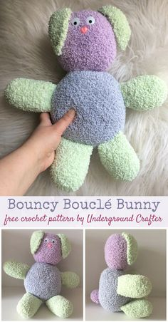 Bouncy Bouclé Bunny, free crochet pattern by Underground Crafter in Lion Brand Baby Soft Bouclé yarn, stuffed with Fairfield Poly-Fil Crafter's Choice Dry Polyester Packing Fiber Fill Crochet Beanie Pattern, Easy Crochet Patterns, Amigurumi Patterns, Crochet Designs, Easter Crochet, Crochet Toys, Free Crochet, Crochet Animals, Boucle Yarn