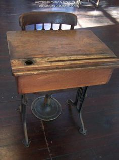 School desk 1910..we still had these desks in our school when I went to elementary school!